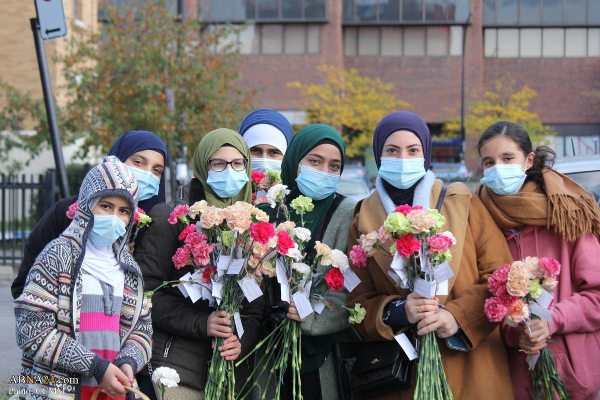 اهدای گل به مناسبت میلاد حضرت محمد(ص) در کانادا