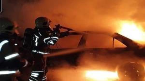 آتش گرفتن خودرو پژو ۴۰۵ در مازندران