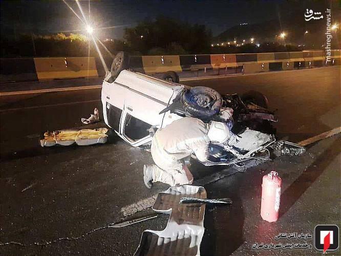 عکس/ واژگونی خودرو پراید در بزرگراه امام علی(ع) تهران