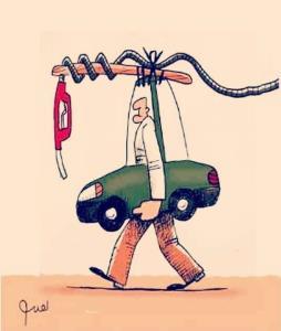 کاریکاتور/ سرگردانی مردم برای یک لیتر بنزین