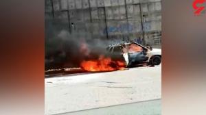 فیلم وحشتناک از سوختن پراید در میدان ارغوان ایلام